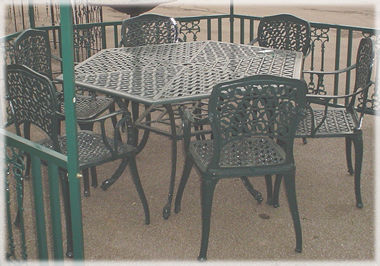large hexagonal cast iron furniture set - Garden Furniture The Range