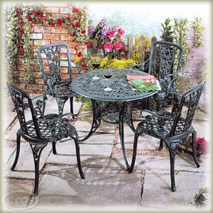 Garden Furniture Round Rose Pattern Cast Iron Patio Set